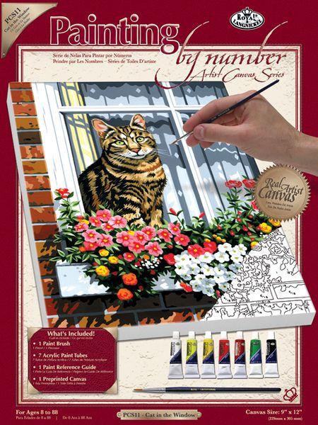 Set Pictura pe panza Pisica la geam