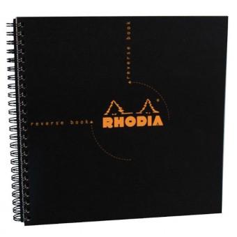 zzReverse Book 21x21cm ,Rhodia black,80f,mate
