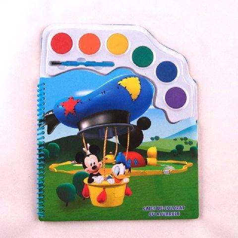 Caiet de colorat,cu acuarele,Mickey