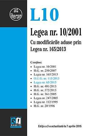 LEGEA NR. 10/2001 - EDITIA A 2-A (2015-04-07)