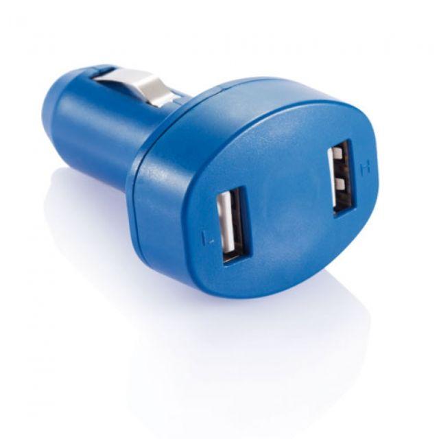 Adaptor auto cu doua porturi USB, albastru