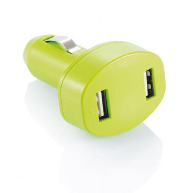 Adaptor auto cu doua porturi USB, verde