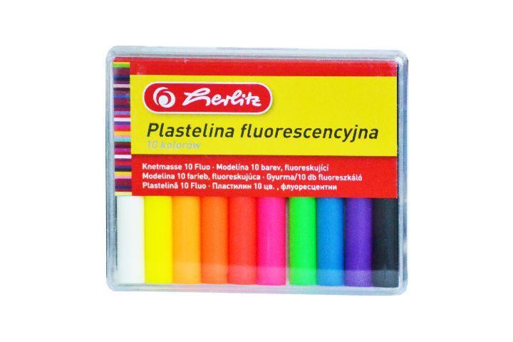 Plastilina Herlitz,fluorescenta,10culori/set