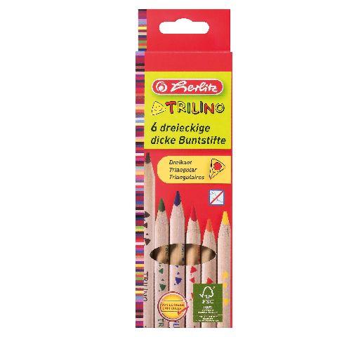 Creioane colorate,6b/set,triung.,Herlitz