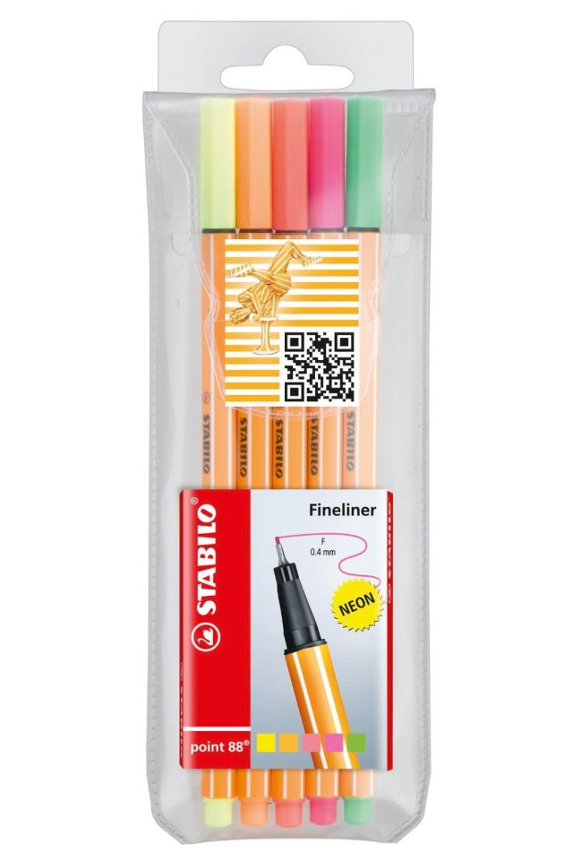Liner Stabilo Point 88,0.4mm,5/set,neon