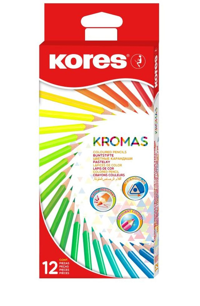 Creioane colorate,12/set,triunghi,Kromas