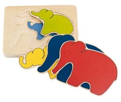 Puzzle lemn,multistrat,elefant,5pcs,Goki