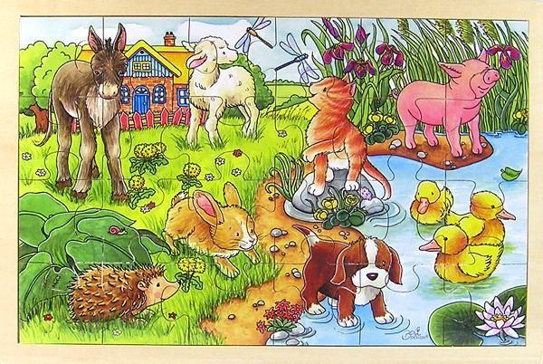 Puzzle lemn,pui animale,24pcs,Goki