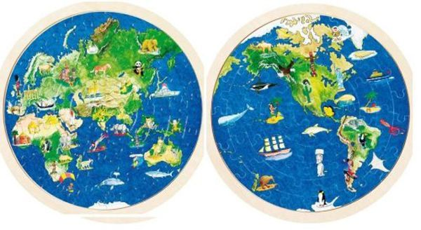 Puzzle lemn,globul pamantesc,57pcs,Goki