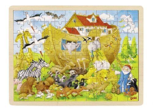 Puzzle lemn,arca lui Noe,96pcs,Goki