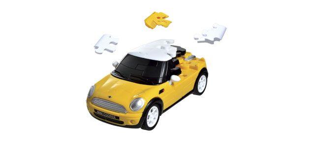 Puzzle 3D,masina,MiniCopper,galben mat,plastic