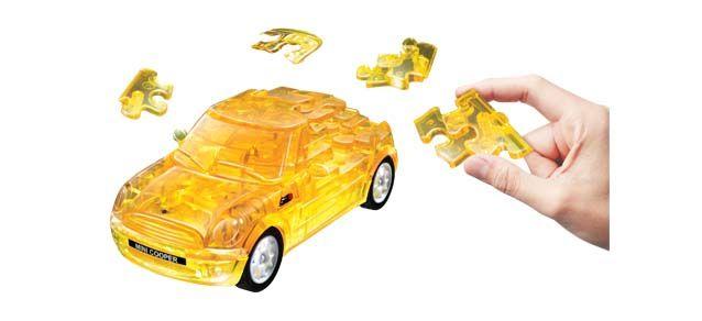 Puzzle 3D,masina,MiniCopper,galben transp,plastic