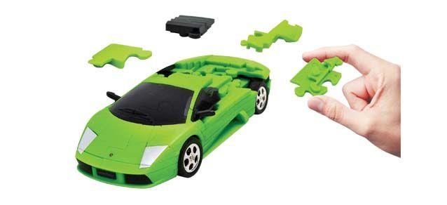 Puzzle 3D,masina,Lamborghini,verde mat,plastic
