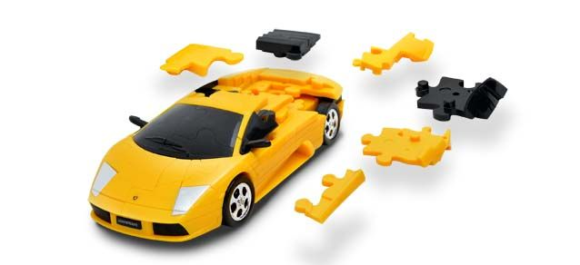 Puzzle 3D,masina,Lamborghini,galben mat,plastic