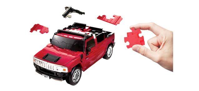 Puzzle 3D,masina,Hummer,rosu mat,plastic