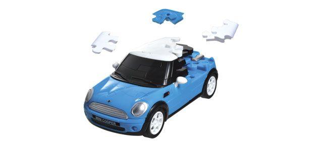 Puzzle 3D,masina,MiniCopper,albst. mat,plastic
