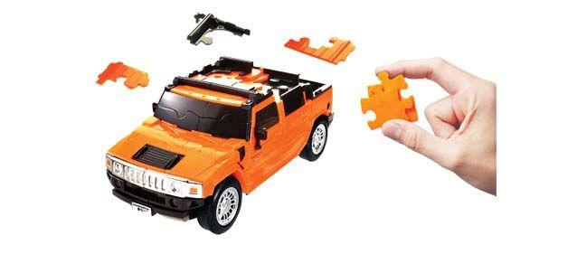 Puzzle 3D,masina,Hummer,portocaliu mat,plastic