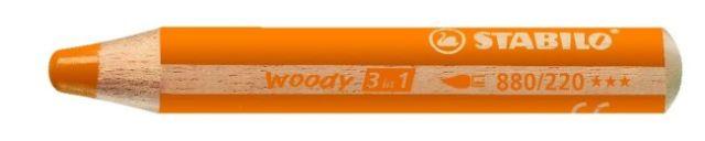 Creion colorat,3in1,Stabilo Woody,portocalii