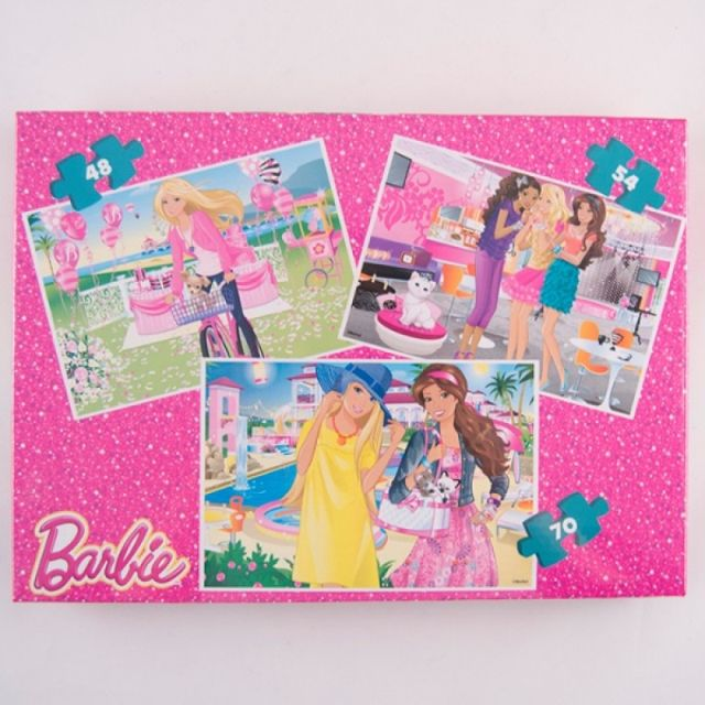 Puzzle 3buc/set,coloriaj,Barbie