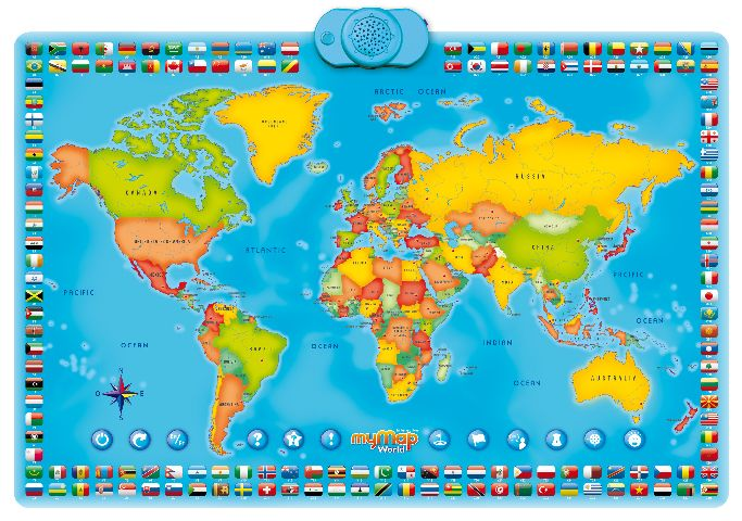 Harta lumii,interactiva,bilingv rom/engl
