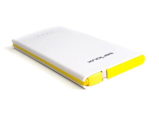 Baterie externa Serioux, portabila, SRX-850A, 8000mAh, dimensiuni 14.7x7.2x1.2cm, alb/galben