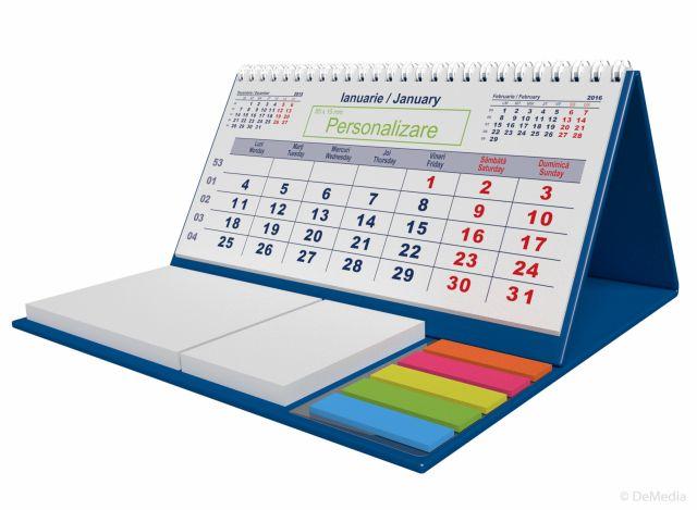 Calendar birou,notite repoz,Clasic,albastru
