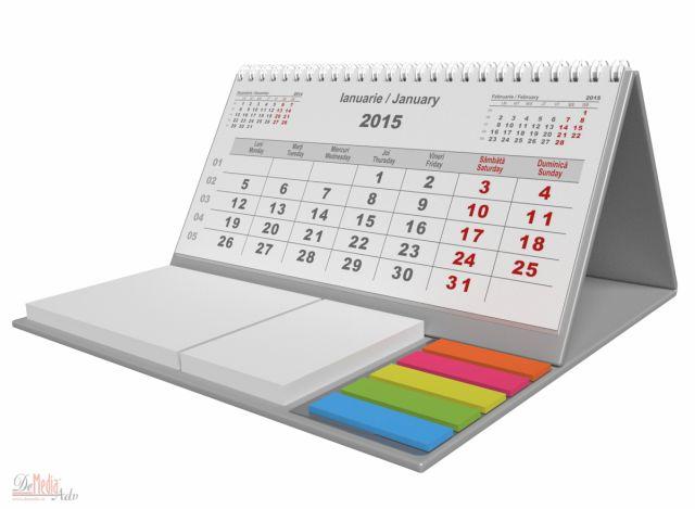 Calendar birou,notite repoz,Clasic,argintiu