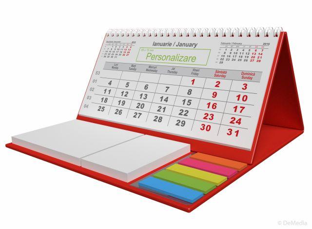 Calendar birou,notite repoz,Clasic,rosu