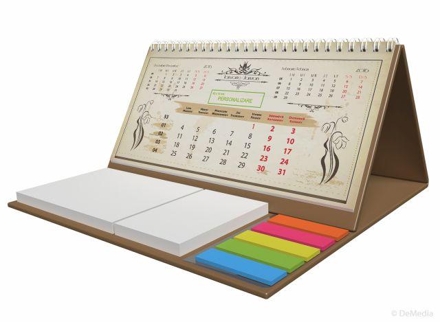 Calendar birou,notite repoz,Vintage,auriu 2016