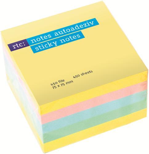 Cub notite adezive R TC pastel,75x75,450f