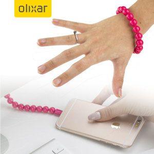 Bratara cu bile incarcator iPhone, roz