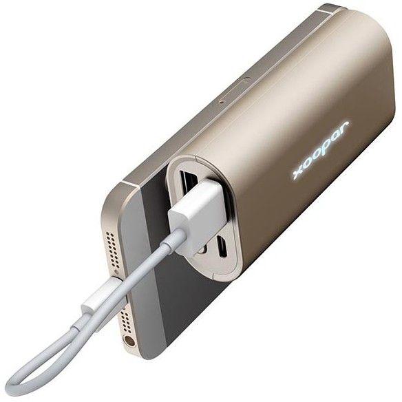 Baterie portabila 5200 mAh cu USB dual, auriu