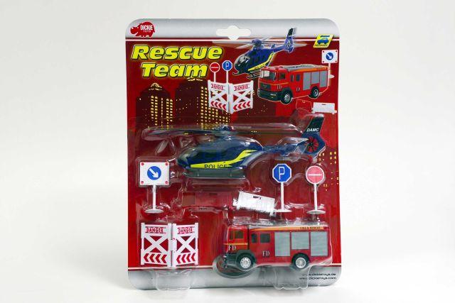 Masina de interventie Dickie,pompieri,cu elicopter,set