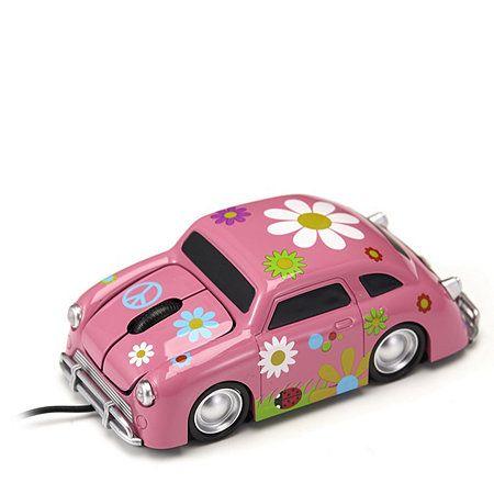 Mouse masina cu flori V2, roz