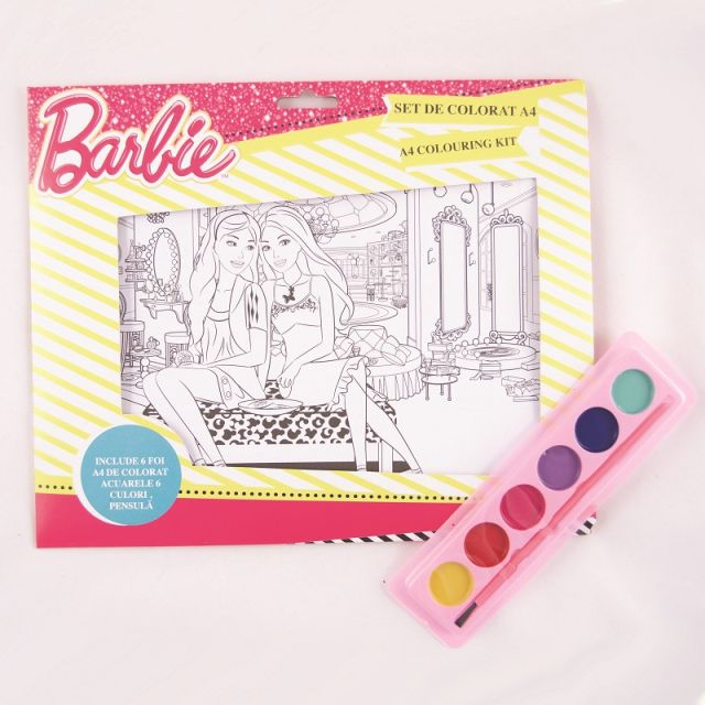 Set coloriaj,acuarele si pensula,Barbie