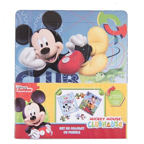 Set coloriaj cu puzzle,Mickey