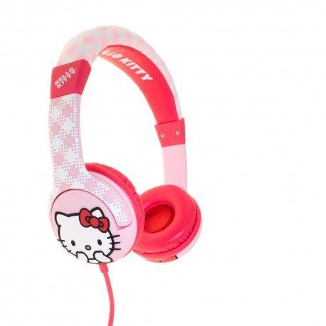 Casti Hello Kitty roz cu carouri