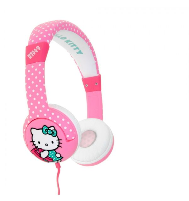 Casti Hello Kitty roz cu buline