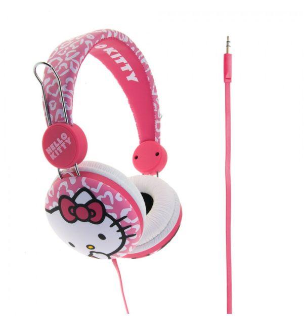 Casti Hello Kitty roz leopard