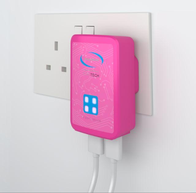 Incarcator pentru priza cu 4 porturi USB, Roz