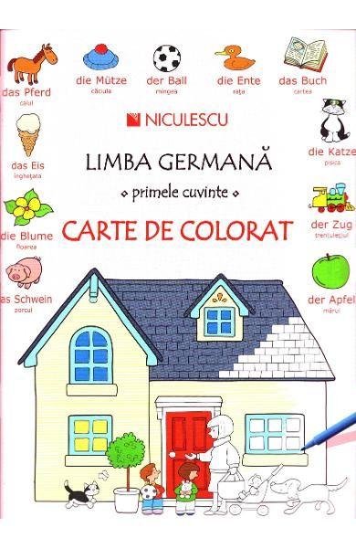 LIMBA GERMANA.PRIMELE CUVINTE.CARTE DE COLORAT