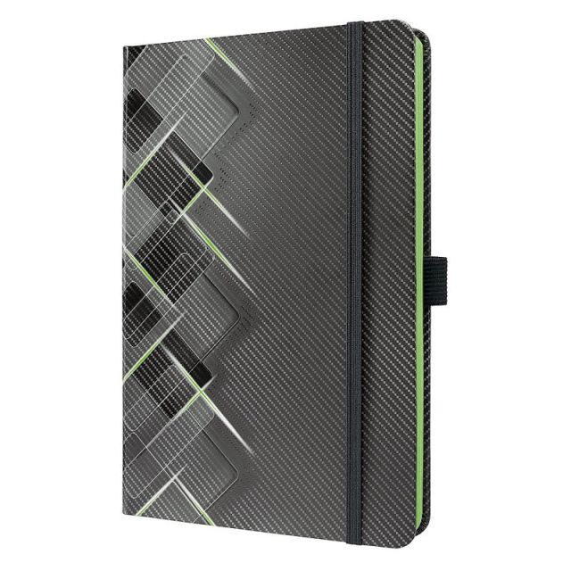 Agenda A5,Sigel,elastic,dict,negru/verde