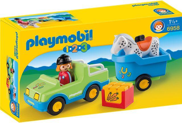 Playmobil-1.2.3. Masina, remorca si cal