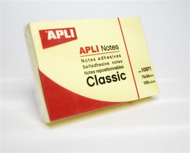 Notite adezive Apli,50x75mm,100f,galben