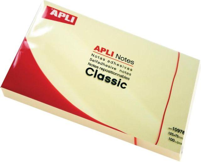 Notite adezive Apli,75x75mm,100f,galben,pastel
