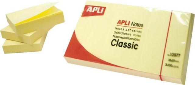 Notite adezive Apli,125x75mm,100f,galben