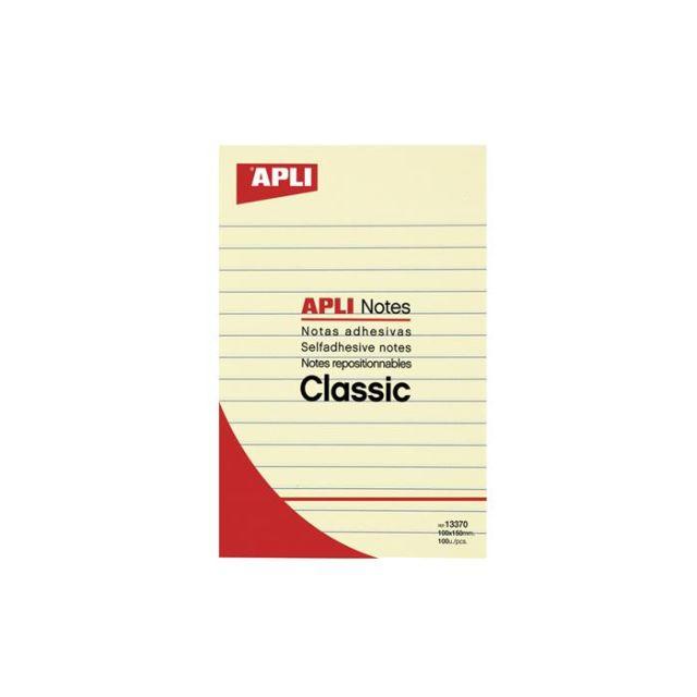 Notite adezive Apli,150x100mm,galben,liniat