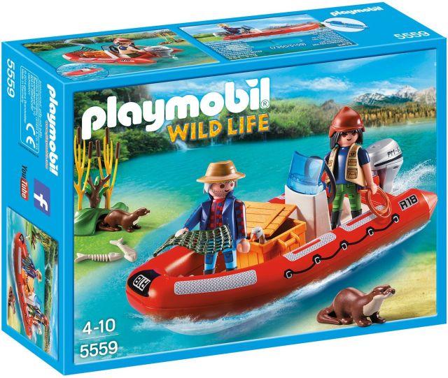 Playmobil-Barca gonflabila cu cercetator