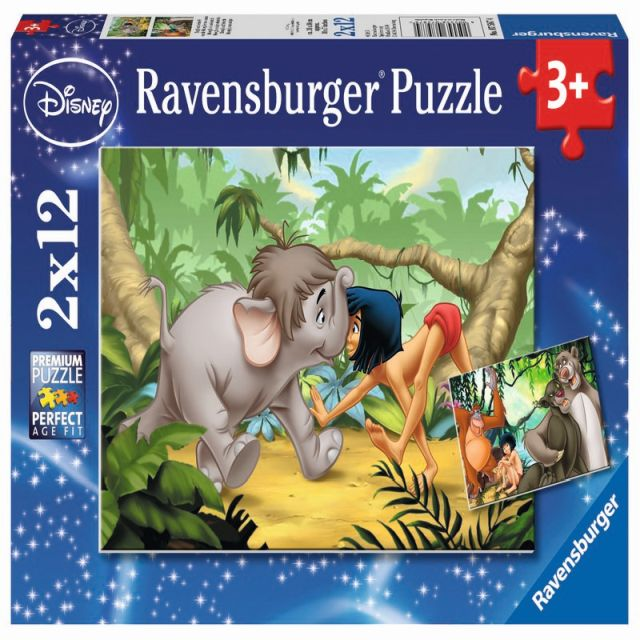 Puzzle Cartea junglei,2x12pcs