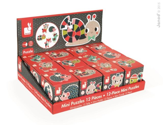 Puzzle,in cub,mini,animale padure,12pcs,div.mod,Janod